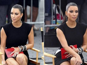 Kim Kardashian... MİNİ ETEKLE FRİKİK KAÇINILMAZ!