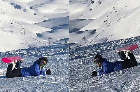 Fatma Turgut...KONSER SONRASI SNOWBOARD İLE YORGUNLUK ATTI!