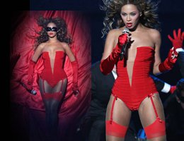 Beyonce....EROTİK KIRMIZI JARTİYERİ VE SEKSİ MAYOSUYLA DÜNYAYI SALLADI....